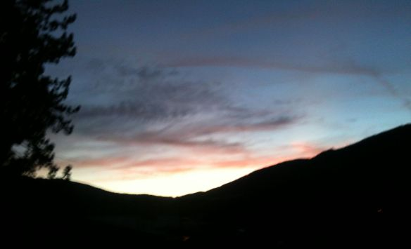 sunset over mtns